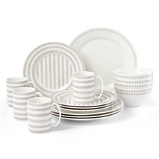 kate spade new york Charlotte Street North Grey 16-PC Dinnerware Set