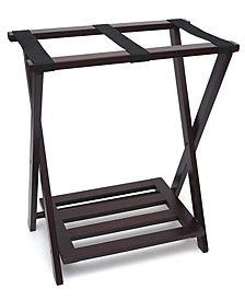 Right Height Folding Luggage Rack with Bottom Shelf, Espresso