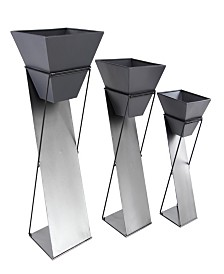 Rosemary Lane Set of 3 Modern Tin Plant Stands