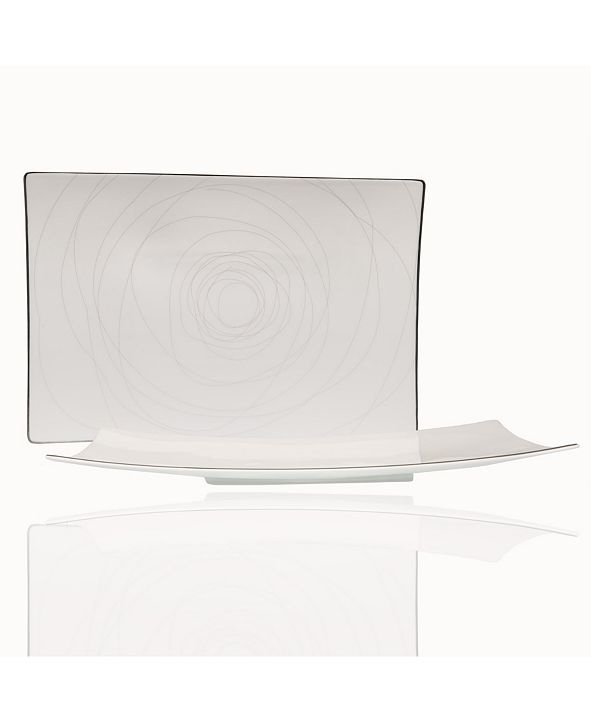 "Red Vanilla Orbit 15.5"" x 10.25"" Rectangular Platter"