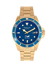 Heritor Automatic Lucius Blue Dial, Gold Stainless Steel Watch 40mm