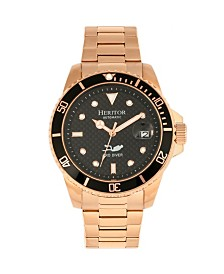 Heritor Automatic Lucius Black Dial, Gold Stainless Steel Watch 40mm