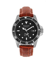 Heritor Automatic Lucius Black Dial, Genuine Brown Leather Watch 41mm