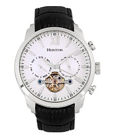 Heritor Automatic Arthur Silver Case, Genuine Black Leather Watch 45mm