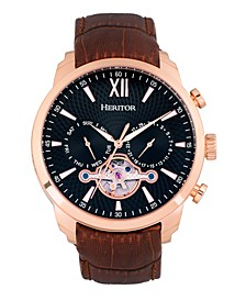 Automatic Arthur Rose Gold Case, Black Dial, Genuine Brown Leather Watch 45mm