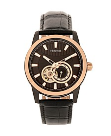 Automatic Davidson Rose Gold Case, Genuine Black Leather Watch 42mm