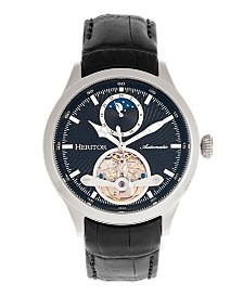 Heritor Automatic Gregory Black Dial, Genuine Black Leather Watch 45mm