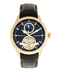Heritor Automatic Gregory Gold Case, Genuine Black Leather Watch 45mm