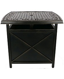 "Traditions Cast-Top Side Table and Umbrella Stand - 21.85"" x 26"" x 46.96"""