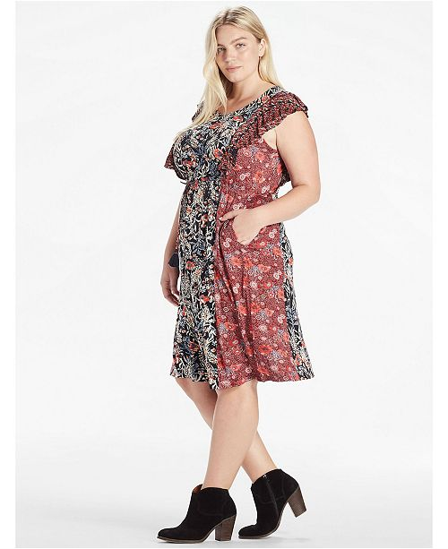 Lucky Brand Plus Mixed Floral Dress