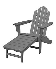 "All-Weather Contoured Adirondack Chair with Hideaway Ottoman - 37.5"" x 29.75"" x 48"""