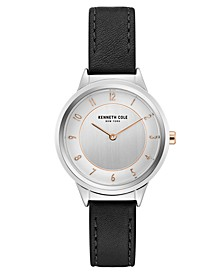 Ladies' Leather Strap with Classic Dial and Accents, 34MM