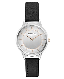 Kenneth Cole New York Ladies' Leather Strap with Classic Dial and Accents, 34MM