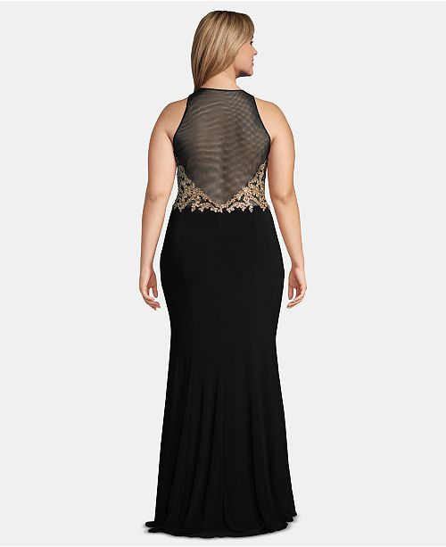 5e40b0596315b XSCAPE Plus Size Embellished Illusion Gown & Reviews - Dresses ...