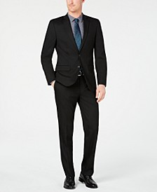 Men's Slim-Fit Flex Stretch Wrinkle-Resistant Black Solid Suit