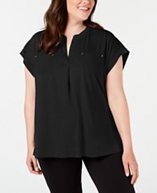 Calvin Klein Plus Size Split-Neck Pocket Top