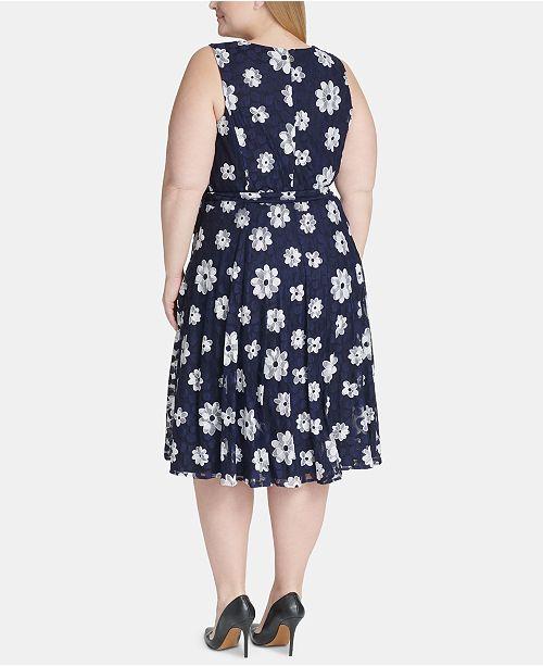 Tommy Hilfiger Plus Size Belted Floral Fit Amp Flare Dress