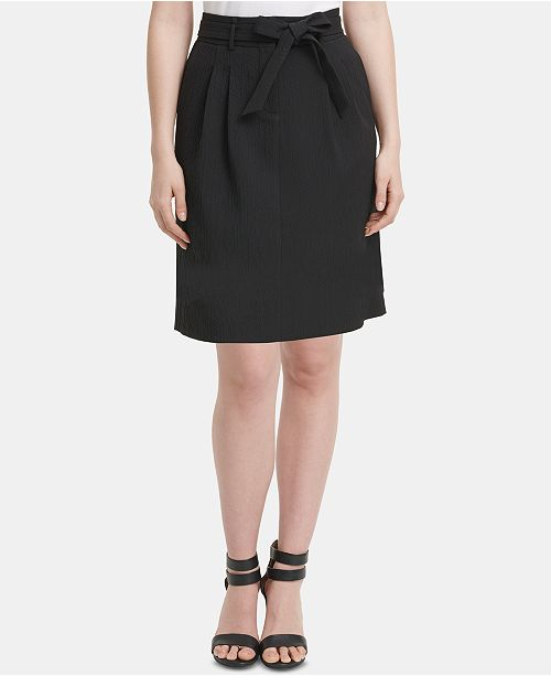 DKNY Textured Paperbag Skirt