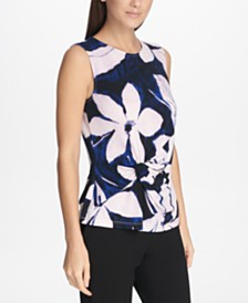 DKNY Sleeveless Floral Side-Knot Top