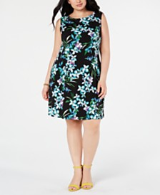 Connected Plus Size Floral A-Line Dress