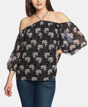 1.state OFF-THE-SHOULDER PRINTED TOP