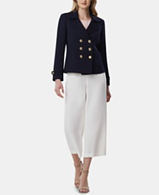 Tahari ASL Double-Breasted Blazer & Cropped Pants