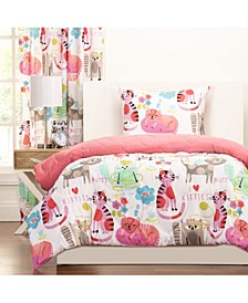 Purrty Cat 5 Piece Twin Luxury Duvet Set
