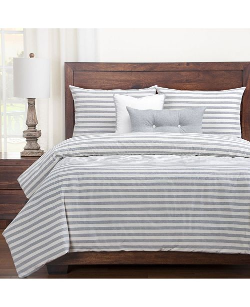 Siscovers Farmhouse Pewter Striped 6 Piece Queen Luxury Duvet Set