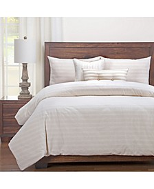 Homestead Barley Striped Farmhouse 6 Piece Queen Luxury Duvet Set