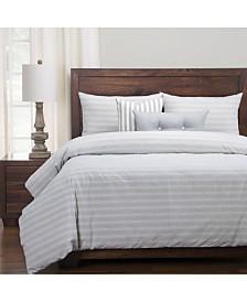 Siscovers Homestead Indigo Striped Farmhouse 6 Piece King Luxury Duvet Set