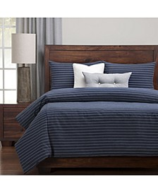 Burlap Indigo Farmhouse 6 Piece Cal King High End Duvet Set