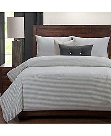 Everlast Stripe Juniper Stain Resistant 6 Piece Queen Duvet Set