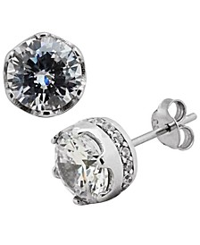 Sutton Sterling Silver Round Stud Earrings With Cubic Zirconia Trim