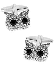Sutton Silver-Tone Cubic Zirconia Owl Face Cufflinks
