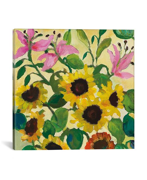 """iCanvas """"Sunflowers and Lilies"""" By Kim Parker Gallery-Wrapped Canvas Print - 12"""" x 12"""" x 0.75"""""""