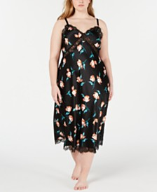 I.N.C. Plus Size Lace-Trim Floral-Print Nightgown, Created for Macy's