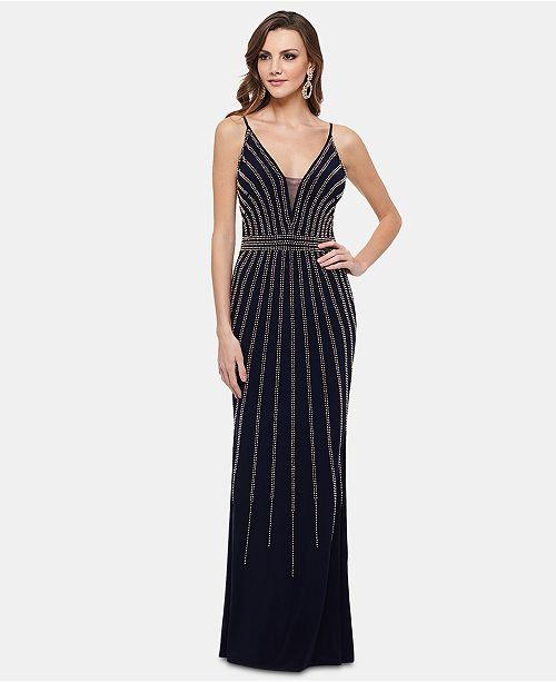 XSCAPE Petite Beaded V-Neck Gown