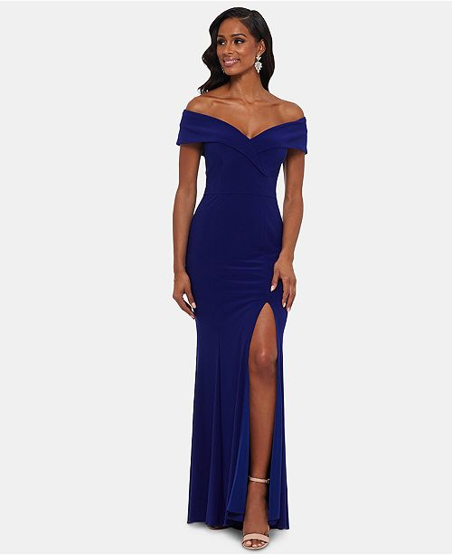 35daa9fc XSCAPE Off-The-Shoulder Slit Gown & Reviews - Dresses - Women - Macy's