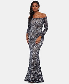 XSCAPE Off-The-Shoulder Two-Tone Lace Gown
