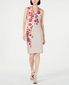 Calvin Klein Pearl-Embellished Printed Sheath Dress