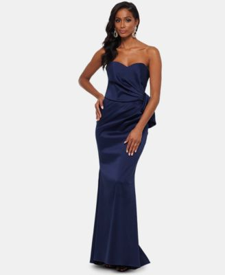 XSCAPE Strapless Bow-Front Evening Gown &