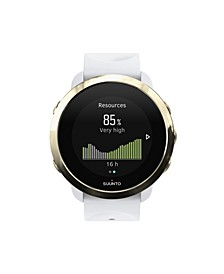 3 Fitness Watch, Gold/White White Silicone Band, A Goldtone Bezel with a Digital Dial