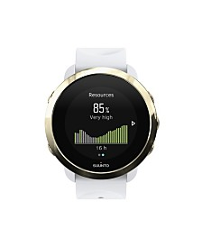 Suunto 3 Fitness Watch, Gold/White White Silicone Band, A Goldtone Bezel with a Digital Dial
