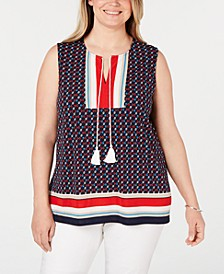 Plus Size Printed Sleeveless Tie Top, Created for Macy's