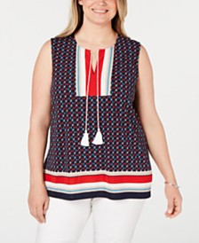 Charter Club Plus Size Printed Sleeveless Tie Top, Created for Macy's