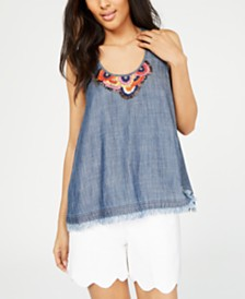 Trina Turk Embroidered Tank Top