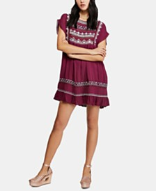 Free People Sunrise Wanderer Embroidered Lace-Trim Dress