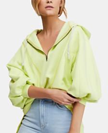 Free People Blouson-Sleeve High-Low Pullover Hoodie