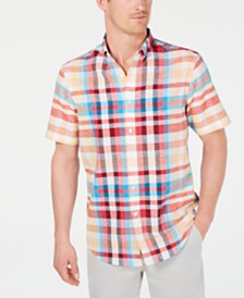 Club Room Men's Bradley Plaid Linen Shirt, Created for Macy's