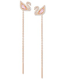 Rose Gold-Tone Crystal Swan & Removable Chain Drop Earrings